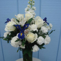 White Flowers with Blue Irises w/vase