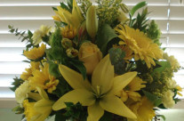 Yellow Flowers w/square vase
