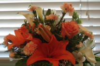Orange and White Flowers w/vase