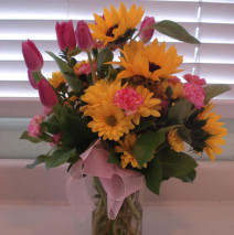 Yellow flowers with Pink Tulips w/vase