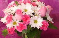 Pink Roses and White Daisy's in a Square Vase