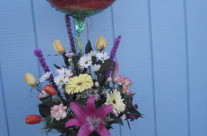 Mixed Flowers w/ Pink Lilly's & Yellow Roses in a Vase