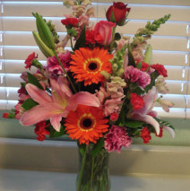 Pink Lilly's and Various Flowers in a Vase – 65.01