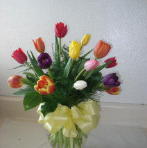 Assortment mixed tulips in a vase