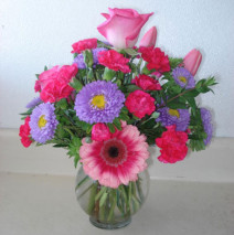 Pink and purple arrangement in a vase