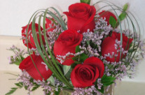 Red Roses in a Square Vase w Heart Shape