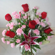 Half Dozen Roses w/Mini Carnations in a Vase
