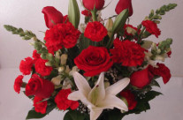 Red and White Arrangement in a vase