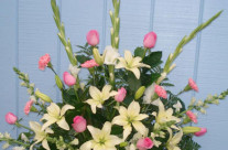 Pink and white arrangement – $189.65