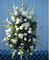 Blue and white stand -